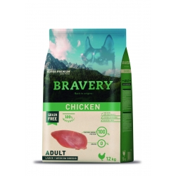 Bravery Adult Chicken Large/Medium Breeds - 12kg (Begrūdis, hipoalerginis)