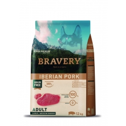 Bravery Adult Iberian Pork Large/ Medium Breeds - 12kg (Begrūdis, hipoalerginis)
