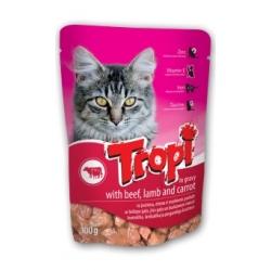 Tropi guliašiukas katėms su jautiena, ėriena ir morkomis 100g