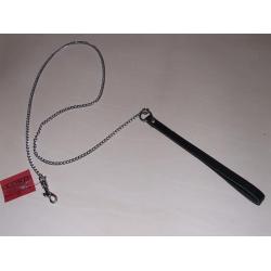 Metalinis pavadėlis su odine rankena 1R/90cm